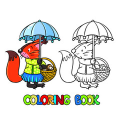 Little funny squirrel with umbrella coloring book vector
