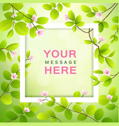 pink flower and leave with white frame vector image