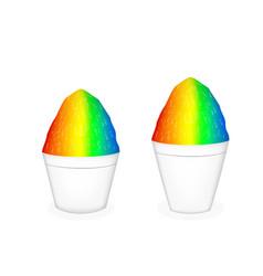 3d hawaiian shave ice on white bowl vector