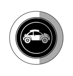 black round emblem side sport car icon vector image vector image
