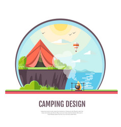 flat style design of seaside landscape and camping vector image vector image