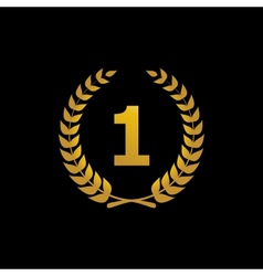 Gold silhouette winner icon with the number 1 vector image