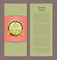 high quality award best choice banner text vector image vector image