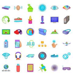 media technology icons set cartoon style vector image vector image