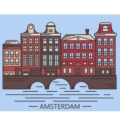 Old Amsterdam Holland houses on bridge set vector image