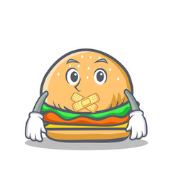 silent burger character fast food vector image vector image