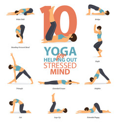 10 yoga poses for your mind vector