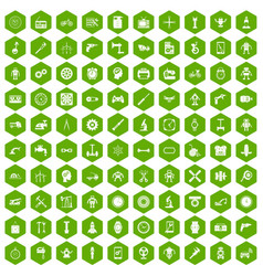 100 gear icons hexagon green vector