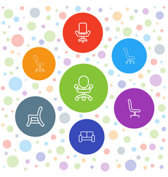 7 armchair icons vector
