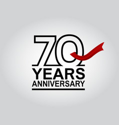 70 years anniversary logotype with black outline vector