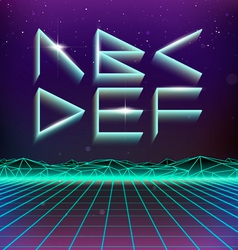 80s Retro Futurism Geometric Font from A to F vector image