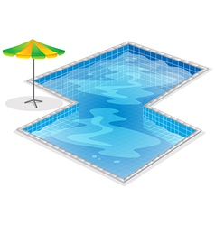 A swimming pool with a beach umbrella vector