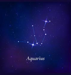 aquarius sign stars map zodiac constellation vector image