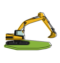 backhoe heavy machinery construction icon image vector image