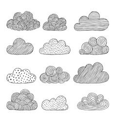 beautiful set of doodle clouds isolated sketch vector image