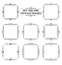 black and white set of vintage elegant square vector image