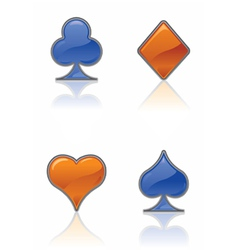blue and orange card suit icons vector image