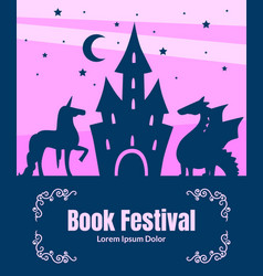 book festival banner template silhouette of vector image