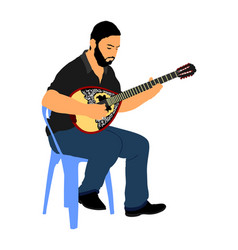 bouzouki player greek folklore string instrument vector image