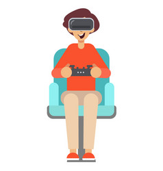 boy with game controller gamepad in virtual vector image