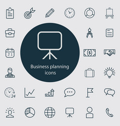 business planning outline thin flat digital vector image