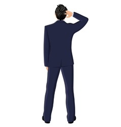 Businessman back view vector