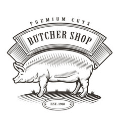 Butcher shop vintage emblem vector