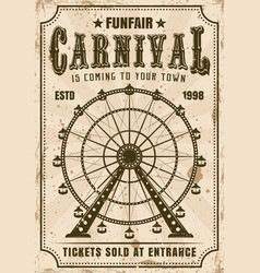 Carnival ferris wheel invitation poster vector