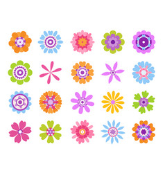 cartoon flower icons summer cute girly stickers vector image
