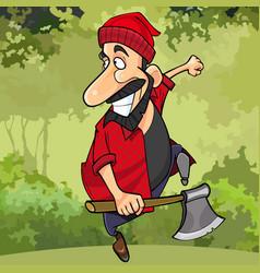 Cartoon happy lumberjack runs through the forest vector