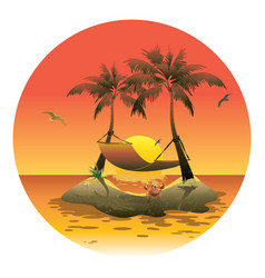Cartoon island with a hammock at sunset vector