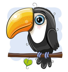 Cartoon toucan is sitting on a branch vector