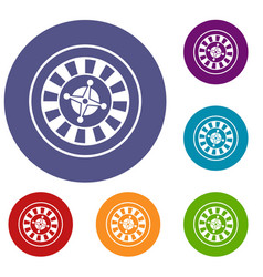 Casino gambling roulette icons set vector