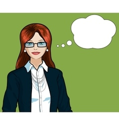 Caucasian Businesswoman pop art comic vector image
