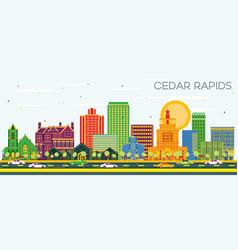 cedar rapids iowa city skyline with color vector image