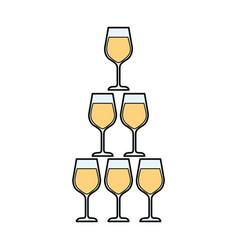 Champagne glasses pyramid celebration event vector