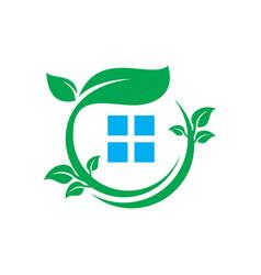 circle leaf home business logo vector image