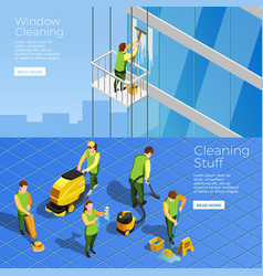 Cleaning isometric horizontal banners vector