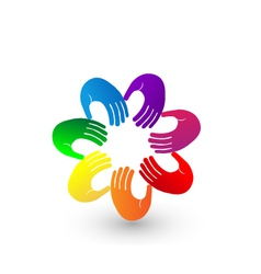 Colorful hands team logo vector