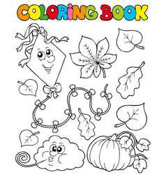 coloring book with autumn theme 1 vector image