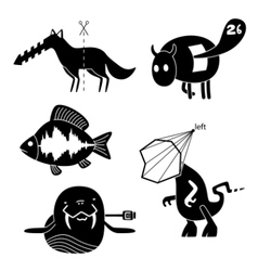 crazy animals vector image