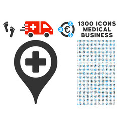 Cross map marker icon with 1300 medical business vector