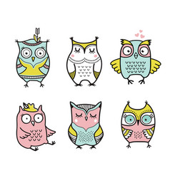 cute cartoon hand drawn owls set vector image