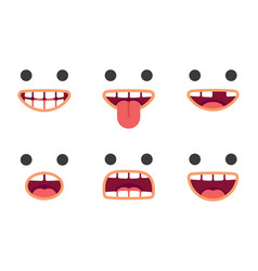 Cute emoji smile crazy faces pack vector
