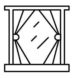 cute window curtain icon outline style vector image