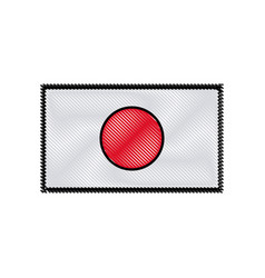 drawing japan flag emblem country symbol vector image