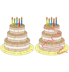 Easy birthday cake maze vector image