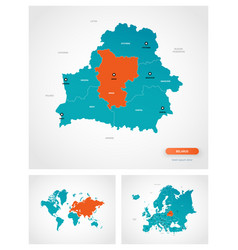 Editable template map belarus with marks vector