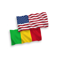 Flags mali and america on a white background vector