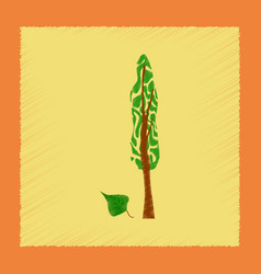 Flat shading style plant populus vector